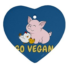 Go Vegan   Cute Pig And Chicken Ornament (heart) by Valentinaart