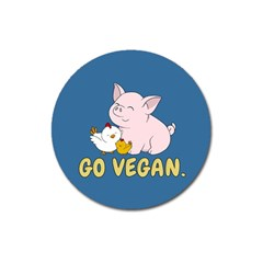 Go Vegan   Cute Pig And Chicken Magnet 3  (round) by Valentinaart