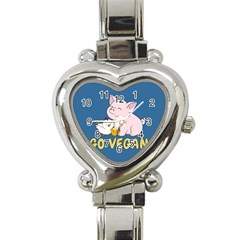 Go Vegan   Cute Pig And Chicken Heart Italian Charm Watch by Valentinaart