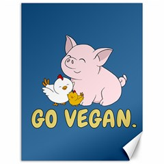 Go Vegan   Cute Pig And Chicken Canvas 12  X 16   by Valentinaart