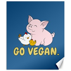 Go Vegan   Cute Pig And Chicken Canvas 20  X 24   by Valentinaart