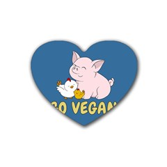 Go Vegan   Cute Pig And Chicken Rubber Coaster (heart)  by Valentinaart