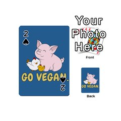 Go Vegan - Cute Pig And Chicken Playing Cards 54 (mini)  by Valentinaart