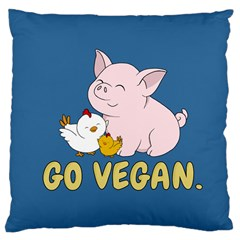 Go Vegan   Cute Pig And Chicken Large Cushion Case (two Sides) by Valentinaart