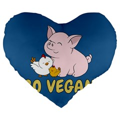 Go Vegan   Cute Pig And Chicken Large 19  Premium Heart Shape Cushions by Valentinaart