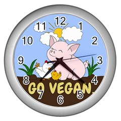 Go Vegan   Cute Pig And Chicken Wall Clocks (silver)  by Valentinaart