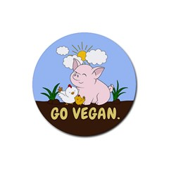Go Vegan - Cute Pig And Chicken Rubber Round Coaster (4 Pack)  by Valentinaart