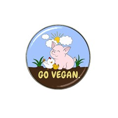 Go Vegan - Cute Pig And Chicken Hat Clip Ball Marker by Valentinaart