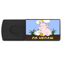 Go Vegan   Cute Pig And Chicken Rectangular Usb Flash Drive by Valentinaart