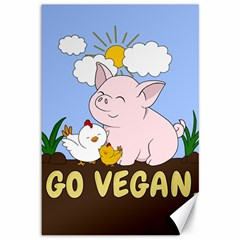 Go Vegan   Cute Pig And Chicken Canvas 12  X 18   by Valentinaart