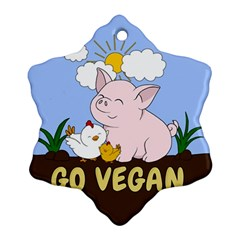 Go Vegan   Cute Pig And Chicken Snowflake Ornament (two Sides)
