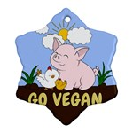Go Vegan - Cute Pig and Chicken Snowflake Ornament (Two Sides) Back