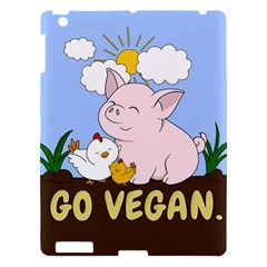 Go Vegan   Cute Pig And Chicken Apple Ipad 3/4 Hardshell Case by Valentinaart