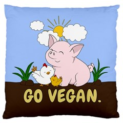 Go Vegan   Cute Pig And Chicken Standard Flano Cushion Case (one Side)