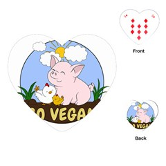Go Vegan   Cute Pig And Chicken Playing Cards (heart)  by Valentinaart