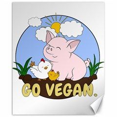 Go Vegan   Cute Pig And Chicken Canvas 16  X 20   by Valentinaart