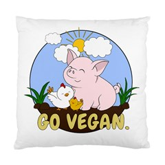 Go Vegan   Cute Pig And Chicken Standard Cushion Case (two Sides) by Valentinaart