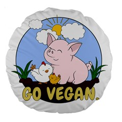 Go Vegan   Cute Pig And Chicken Large 18  Premium Round Cushions
