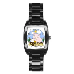 Go Vegan   Cute Pig And Chicken Stainless Steel Barrel Watch