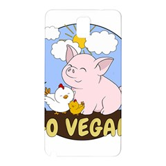 Go Vegan   Cute Pig And Chicken Samsung Galaxy Note 3 N9005 Hardshell Back Case by Valentinaart