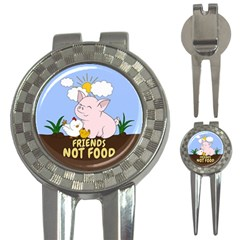 Friends Not Food - Cute Pig And Chicken 3-in-1 Golf Divots by Valentinaart