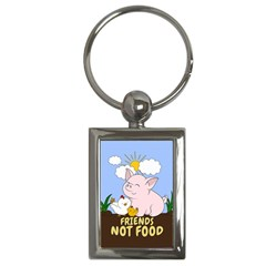 Friends Not Food   Cute Pig And Chicken Key Chains (rectangle)  by Valentinaart