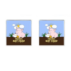 Friends Not Food   Cute Pig And Chicken Cufflinks (square) by Valentinaart