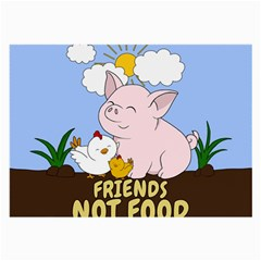 Friends Not Food   Cute Pig And Chicken Large Glasses Cloth (2 Side) by Valentinaart