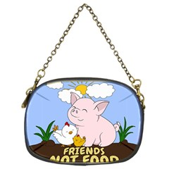 Friends Not Food   Cute Pig And Chicken Chain Purses (two Sides)  by Valentinaart