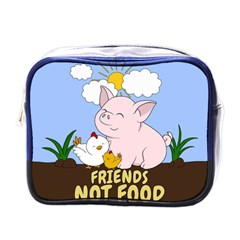 Friends Not Food   Cute Pig And Chicken Mini Toiletries Bags by Valentinaart