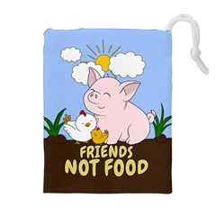 Friends Not Food - Cute Pig And Chicken Drawstring Pouches (extra Large) by Valentinaart