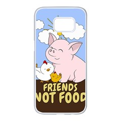 Friends Not Food   Cute Pig And Chicken Samsung Galaxy S7 Edge White Seamless Case by Valentinaart