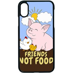 Friends Not Food   Cute Pig And Chicken Apple Iphone X Seamless Case (black) by Valentinaart