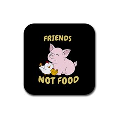 Friends Not Food - Cute Pig And Chicken Rubber Coaster (square)  by Valentinaart