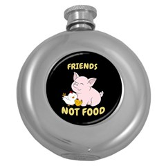 Friends Not Food   Cute Pig And Chicken Round Hip Flask (5 Oz) by Valentinaart