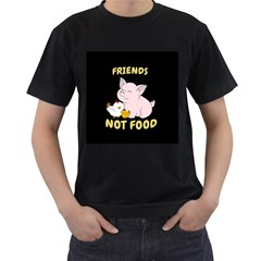 Friends Not Food   Cute Pig And Chicken Men s T Shirt (black) (two Sided) by Valentinaart