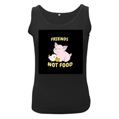 Friends Not Food   Cute Pig And Chicken Women s Black Tank Top