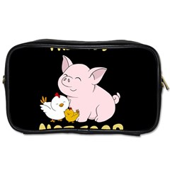 Friends Not Food   Cute Pig And Chicken Toiletries Bags by Valentinaart
