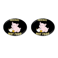 Friends Not Food   Cute Pig And Chicken Cufflinks (oval)