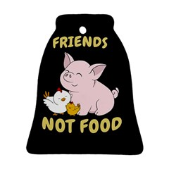 Friends Not Food   Cute Pig And Chicken Ornament (bell) by Valentinaart