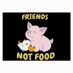 Friends Not Food   Cute Pig And Chicken Large Glasses Cloth (2 Side)