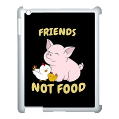 Friends Not Food   Cute Pig And Chicken Apple Ipad 3/4 Case (white) by Valentinaart