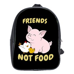 Friends Not Food   Cute Pig And Chicken School Bag (xl) by Valentinaart