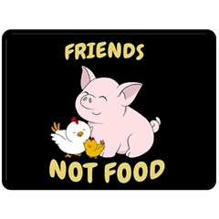 Friends Not Food   Cute Pig And Chicken Fleece Blanket (large)  by Valentinaart