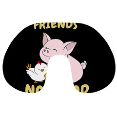 Friends Not Food   Cute Pig And Chicken Travel Neck Pillows by Valentinaart