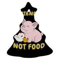 Friends Not Food   Cute Pig And Chicken Ornament (christmas Tree)  by Valentinaart