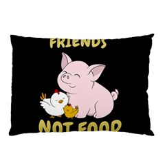 Friends Not Food   Cute Pig And Chicken Pillow Case (two Sides) by Valentinaart