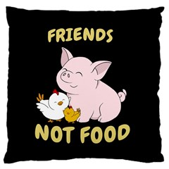Friends Not Food   Cute Pig And Chicken Large Cushion Case (two Sides) by Valentinaart