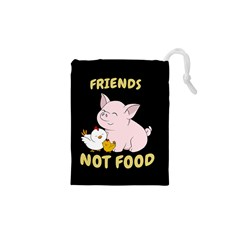 Friends Not Food - Cute Pig And Chicken Drawstring Pouches (xs)  by Valentinaart
