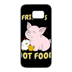 Friends Not Food - Cute Pig And Chicken Samsung Galaxy S7 Edge Black Seamless Case by Valentinaart